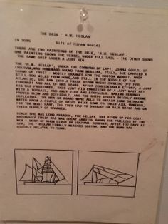 Description that hangs beside the paintings of the Brig R. M. Heslan. This tells the story of the brig explaining why the ship differs from painting to painting. The first painting shows the Brig at full sail. The second shows the Brig under a jury rig. #ship, #brig, #painting, #atwoodhouse, #chathamhistoricalsociety, #chatham, #capecod