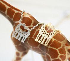 Love Giraffe Necklace, Dainty Necklace, Everyday Necklace, Heart Giraffe Necklace, Animal Necklace, Minimalist Jewelry, Gift Necklace on Etsy, $11.00
