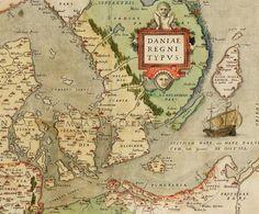 "Map of Denmark from the Atlas ""Theatrum orbis terrarum"" Denmark Map, The Atlas, Orbis, Vintage Maps, Planer, Printmaking, Illustration, Prints, Maps"