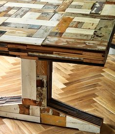 table from reclaimed wood. I like it better for a table top, rather than the legs