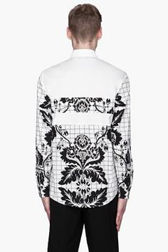 3.1 PHILLIP LIM White and black floral paneled shirt