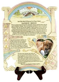 """Remembrance Plaque - Pet Memorial with Rainbow Bridge Poem and Picture Frame, Stone-look, 10"""" Height by Banberry Designs, http://www.amazon.com/dp/B004L5T4V6/ref=cm_sw_r_pi_dp_Q9NKrb0DK1AYQ"""