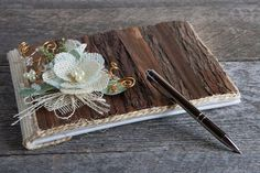 Wood wedding guest book/Wedding guest by lechoixdelamariee on Etsy Wood Guest Book, Rustic Wedding Guest Book, Wedding Book, Burlap Flowers, Lace Flowers, Wooden Hand, Wedding In The Woods, Rustic Chic, Handmade