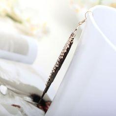 Rhinestone Chain Fringe Earrings #