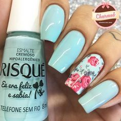 Having short nails is extremely practical. The problem is so many nail art and manicure designs that you'll find online Fabulous Nails, Perfect Nails, Gorgeous Nails, Pretty Nails, Toe Nails, Pink Nails, Tiffany Blue Nails, Uñas Diy, Nailart