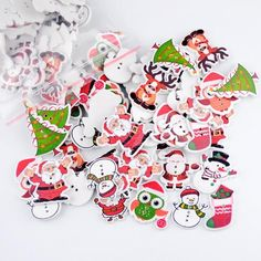 Mixed Color 17 styles of Christmas Buttons in different sizes
