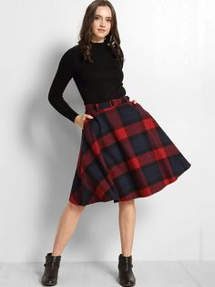 Plaid Printed A-line Mid-rise Midi-skirt is so eye-catching and suit for all occasions, Come and buy Skirts,Midi Skirts on ByChicStyle now!