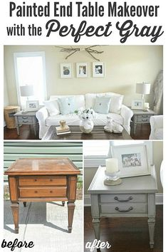 Mount smoke grey end tables/ night stands - A DIY makeover & beautiful living room! Furniture Projects, Furniture Making, Furniture Makeover, Home Projects, Diy Furniture, Antique Furniture, Painted End Tables, End Table Makeover, Do It Yourself Furniture
