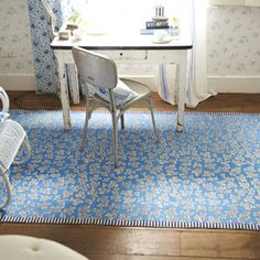 Meadow Leaf Cobalt Rug A flat woven cotton rug with scattered printed leaves on a cobalt ground, edged with a charming cobalt and white printed fine stripe. Scatter Rugs, Rugs On Carpet, Carpets, Designers Guild, Innovation Design, Cobalt, Home Accessories, Area Rugs, Design Inspiration