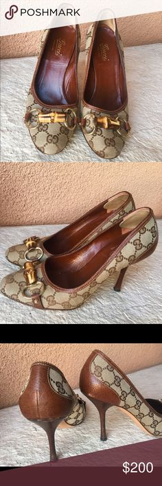 RARE GUCCI MONOGRAMMED PUMPS GUCCI Brown  Monogram Canvas Bamboo Horse Bit Leather Trim Heels. Barely worn! You won't find these around anymore! Gucci Shoes Heels