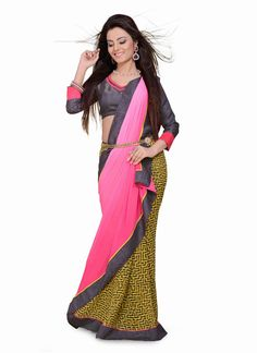 Buy online latest stylish indian designer sarees. Buy this Distinctively Georgette Green Print Work Casual Saree,