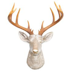 this 14 point deer head mount is made of resin by art crafters near and deer