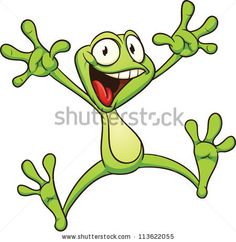 Excited cartoon frog. Vector illustration with simple gradients. All in a single layer. - stock vector