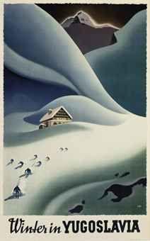 vintage ski poster by Trpin   WINTER IN YUGOSLAVIA