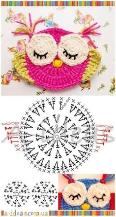 "Diy Crafts - Animais em crochê ""☆ ★ ✭ Aplique de Crochê Bichos - / ☆ ★ ✭ Apply by Crochet Critters -"", ""Wonderful applikashki from les frotte Diy Crochet Owl, Crochet Owl Applique, Marque-pages Au Crochet, Owl Crochet Patterns, Crochet Motifs, Owl Patterns, Crochet Diagram, Crochet Animals, Crochet Crafts"