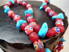 Handmade African Tribal Necklace, Turquoise Recycled Glass, Hand Painted OAK, $62.00 USD  More by Erie Kajumbula, https://www.etsy.com/shop/BeadsIntercontinent