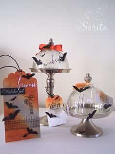Handmade craft Halloween gift tag idea, and cake dome decoration, in orange and grey colours, Cheery Lynn Bat dies, Tim Holtz inks in Pumice stone and Rusty Hinge, Hampton Art Halloween stamps, Tim Holtz Handwritten Halloween sentiments dies