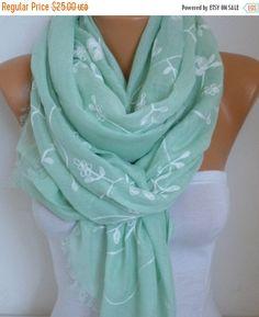 Menta la bufanda bordada del algodón suave resorte de por fatwoman