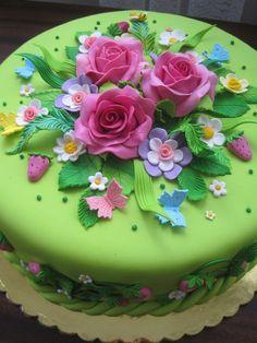 Tartas de cumpleaños - Birthday Cake - Beautiful floral cake...