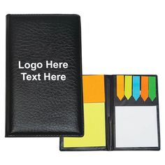 This custom leather look padfolio with sticky notes and flags will be appreciated by everyone who receives it from you. This padfolio will help recipients to remain organized with its attractive features. It holds sticky notes in various colors and shapes