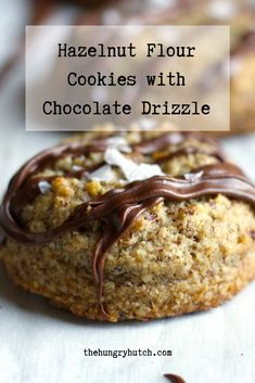 These moist, gluten-free hazelnut cookies get drizzled with chocolate and topped with flaky sea salt. They're a great mix of salty and sweet with soft and crunchy. Decadent Chocolate Cake, Chocolate Cookie Recipes, No Flour Cookies, Sweet Cookies, Cookie Cake Pie, Hazelnut Cookies, Vegetarian Chocolate, Food Blogs, Dessert Recipes