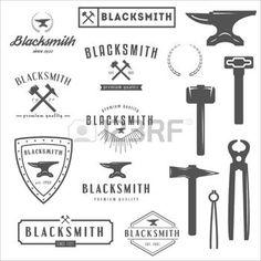 welding logo: Set of logo, elements and logotypes for blacksmith and shop Illustration