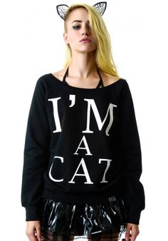 black Kill Star I'm A Cat Sweatshirt