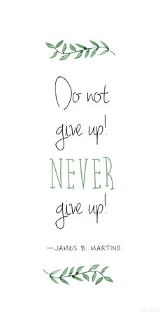"""""""Do not give up! Never give up!""""—James B. Martino #LDS"""