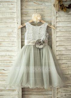 [US$ 64.39] A-Line/Princess Knee-length Flower Girl Dress - Tulle Sleeveless…