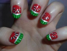 Simple Creative Nail Design Watermelon for Short Nails