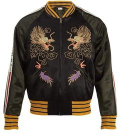 d3cfdc482 Gucci Dragon Embroidered Bomber Jacket - Mens - Black Multi Gucci Jean  Jacket, Gucci Jeans