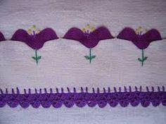 Tulips made with purple ric rac