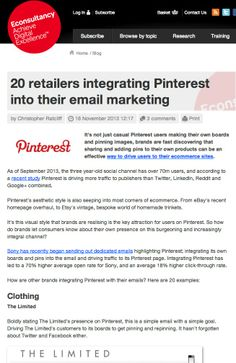 20 retailers integrating Pinterest into their email marketing