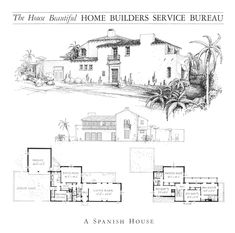 Spanish Colonial Homes, Colonial House Plans, Spanish Style Homes, Spanish Revival, Spanish House, Architectural Floor Plans, Two Story House Plans, Vintage House Plans, Mediterranean Design