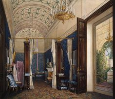Edward Petrovich Hau  Interiors of the Winter Palace. The Dressing Room of Empress Alexandra Fyodorovna