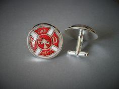 FIREFIGHTER EMBLEM  CUFFLINKS / Maltese Cross / Gift for Him / Fireman Gift / 2 Sizes / Cuff Links  / Firefighter gift