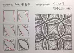這是美華(damy)投稿的第二十四個圖樣 Zentangle pattern - SLIPOFF滑落 這直線很像靠在牆邊的木條,一不小心就一路滑落, 形成了美麗的弧度。 右邊應用圖加上官方圖樣SAMP