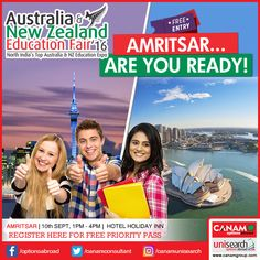 A golden opportunity for the youth of Amritsar to get exclusive and extensive information about education opportunities in Australia and New Zealand as the expert team of #CanamConsultants is coming to Amritsar. Register for your place now. This one meeting would ensure that your #StudyAbroad dream comes true! Register Today!  #StudyinAustralia #StudyinNewZealand http://www.canamgroup.com/nzedufair/