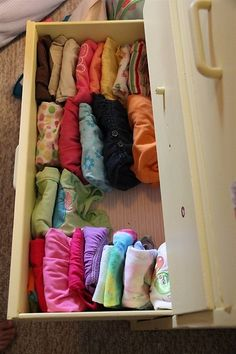 Putting shirts in vertically rather than stacked on top of each other, so you can see what clothes are in the drawer.  So you don't always wear the ones on top!