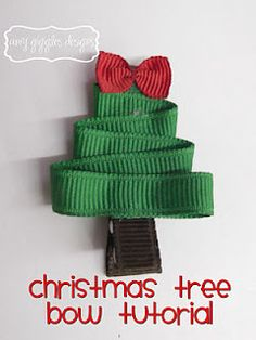 Ribbon Christmas Tree on a hair clip or headband - what a cute hair decoration for a little girl! I bet you could make a Christmas Ornament out of it, too.