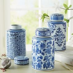 Blue & White Tea Canisters