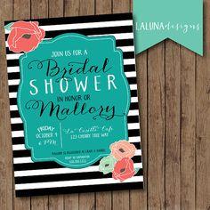 Rustic Bridal Shower Invitation, Floral Black & White Stripe Bridal Shower Invite, Stripes Baby Shower Invitation, DIY Printable