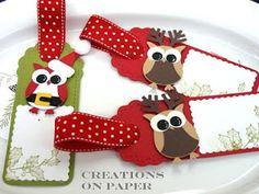 Owl Punch Santa and Reindeer Christmas Paper, Christmas Gift Tags, Holiday Cards, Christmas Owls, Christmas Projects, Christmas Crafts, Owl Punch Cards, Karten Diy, Owl Card