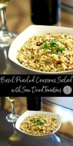 Basil & herb pearled couscous combined with sun dried tomatoes; then tossed with balsamic vinegar and EVOO makes a deliciously light salad.  #salad #couscous