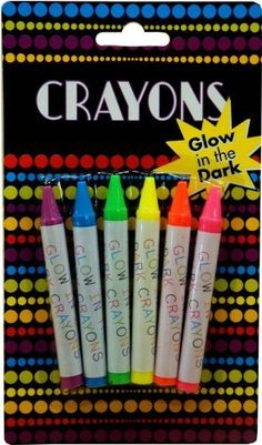 Glow in the Dark Crayons by BeWild. $13.49. Our glow in the dark crayon will change the way you use crayons! Draw a picture and color it in with our glow in the dark crayons; the picture will look great in the light and glow bright at night! Use the six vibrant neon colors add life to dull pictures, turn off the lights and watch your art glow! Draw on paper, canvas walls and more! Where ever you draw it, it will glow! Each crayon is over sized, pre-sharpened and ...