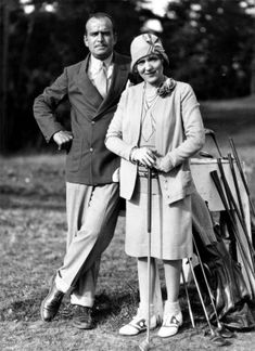 Douglas Fairbanks Sr. & Mary Pickford on their private golf course at Pickfair (1920s)