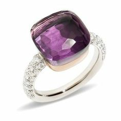 Pomellato 18k Rose Gold Diamond Nudo Ring With Amethyst  Now available at Diamond Dream Fine Jewelers https://www.facebook.com/pages/Diamond-Dream-Fine-Jewelers/170823023636 https://www.diamonddreamjewelers.com info@diamonddreamjewelers.com 908.766.4700