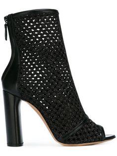 Ankle boot peep toe de couro