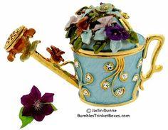 trinket+boxes | Trinket Box: Watering Can- Blue