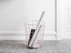 The Metal Wire Storage Bin is perfect for additional storage in the bedroom or office. You can also use it as an elegant trash bin.